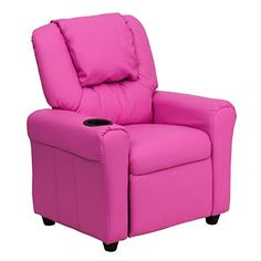 Kids' Recliners - Flash Furniture DGULTKIDHOTPINKGG Contemporary Hot Pink Vinyl Kids Recliner with Cup Holder and Headrest -- You can get more details by clicking on the image.