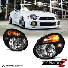 deaa32e9c JDM Subaru Impreza WRX STi Bug Eye HID Headlights Head Lamps GDB GG V7  Black | eBay