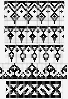 Charted Patterns from Medieval Egypt – Pattern Darning - Knitting Charts Tapestry Crochet Patterns, Fair Isle Knitting Patterns, Crochet Motifs, Fair Isle Pattern, Knitting Charts, Weaving Patterns, Crochet Chart, Knitting Stitches, Cross Stitch Borders