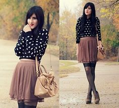 blue and white polka dots and brown skirt