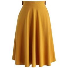 Chicwish Basic Full A-line Skirt in Mustard (2.145 RUB) ❤ liked on Polyvore featuring skirts, bottoms, yellow, knee length a line skirt, chicwish skirt, mustard a line skirt, mustard skirt and yellow a line skirt
