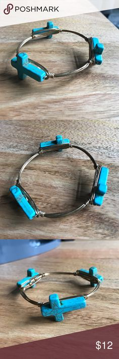 Bourbon and Boweties bracelet Pretty Bourbon and boweties bangle with turquoise crosses. Brand charm fell off but authentic Bourbon and Bowties Jewelry Bracelets