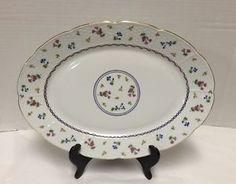 Baum-Bros-Francais-Serving-Plate-Basketweave-Rim-Blue-Gold-Rope-Flowers-Platter