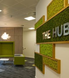 Nordik Moss Wall Art can be used to create superb interior design features as seen in this Break-out Area for a Glasgow Healthcare Company Office Interior Design, Office Interiors, Interior Decorating, Office Walls, Office Decor, Moss Wall Art, Clinic Design, Cafe Design, Commercial Design