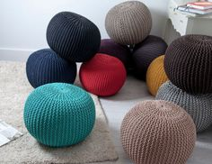 Knitted Pouffe Footstool Bean Filled Cotton for Living Room Bedroom Ottoman Leather Pouf Ottoman, Ottoman Footstool, Knitted Pouffe, Knitted Throws, Stool Cushion, Round Stool, Moroccan Pouf, Floor Cushions, Double Knitting