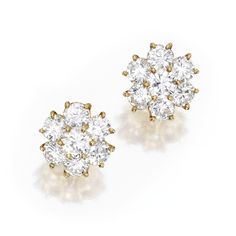 Pair of 18 Karat Gold and Diamond Earclips, Van Cleef & Arpels | Lot |... ❤ liked on Polyvore featuring jewelry, earrings, 18 karat gold jewelry, van cleef arpels jewelry, wine jewelry, diamond jewellery and diamond jewelry