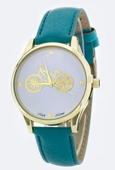 Watches  https://sincerelysweetboutique.com/accessories/watches.html #watch #watches #sincerely-sweet-watches - Watch - Classic Date Retro Bicycle Teal Watch