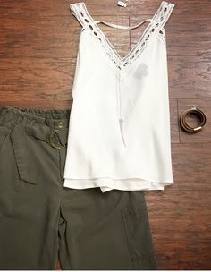 Military Fashion 💪 Strong and Beautiful ✨ •••Olive joggers ($54) •Detailed Tank ($41) •Necklace ($18) •Bracelet ($24)•••Pair with gladiator sandals; peek toe taupe heels; booties; beanie; and denim jacket for alternative looks . For immediate assistance or to ORDER call ☎️701-356-5080 (We Ship📦