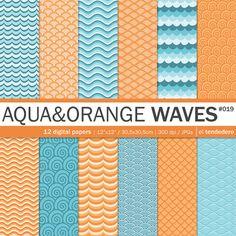 "Wave digital paper pack ""aqua and orange waves"""
