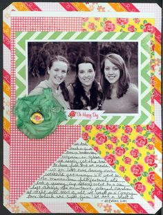 nicole martel: HUGE pennant-type patterned paper background- with space in between left for adding journaling.