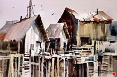 A Maine Waterfront by sterling edwards Watercolor ~ 15 x 22 Watercolor Barns, Watercolor Architecture, Art Watercolor, City Architecture, Watercolor Landscape, Landscape Paintings, Fishing Villages, Painting Inspiration, House Styles