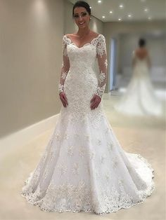 Elegant Lace Vneck Neckline Mermaid Wedding Dresses With Appliques is part of Long sleeve wedding dress lace Romantic lace motifs drift over the bodice and hemline of this unique wedding dres - Mermaid Trumpet Wedding Dresses, Long Wedding Dresses, Elegant Wedding Dress, Perfect Wedding Dress, Mermaid Dresses, Elegant Dresses, Mermaid Skirt, Romantic Lace, Lace Mermaid