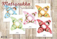 Matryoshka party gift boxes Printable Russian nesting