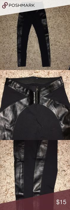 Bebe black pants Size small black spandex with leather lining. Very stretchy very comfortable very sexy! Price is firm bebe Pants Leggings