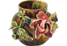 Antique French Majolica Rose Vase - OMG this looks like a lamp that I made in ceramics class in high school!!!