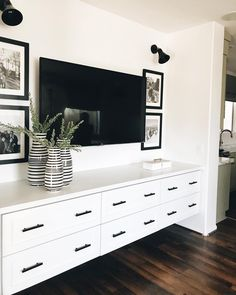 when it's this pretty and this isn't even the best part! // we cannot WAIT to show you this one because the project just proves you… Living Room Built Ins, Living Room Storage, Living Room Decor, Living Spaces, Home Theaters, Bedroom Televisions, Family Room Walls, Living Room Inspiration, Home Remodeling