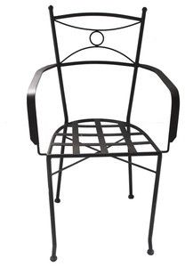 Toluca forged iron chair for veranda, rustic patio and garden. It is artisan made in black iron, rusted and natural finishing.