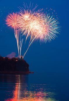 Fireworks on Minnesota North Shore of Lake Superior