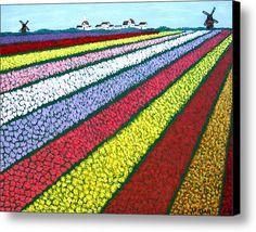 Tulip Fields Canvas Print / Canvas Art By Frederic Kohli Field Paint, Kindergarten Art Projects, Tulip Painting, 6th Grade Art, Art Premier, Perspective Art, Ecole Art, Tulip Fields, Elements Of Art