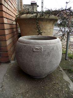 Special handmade light concrete pot.