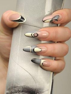Future abstract and space design stiletto nails Sexy Nails, Hot Nails, Fancy Nails, Trendy Nails, Hair And Nails, Crazy Nails, Fabulous Nails, Gorgeous Nails, White Stiletto Nails