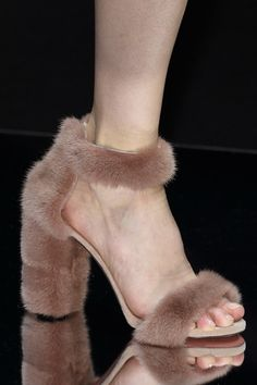 Sandals get a fuzzy update at #BLUMARINE #MFW #AW15