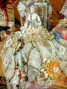 Ribbon dolls, have you ever created one of these? Here is the first one I created for a swap awhile ago. Victorian Fabric, Creation Crafts, Vintage Jewelry Crafts, Popular Crafts, Fabric Journals, Scrapbook Paper Crafts, Scrapbooking, Diy Ribbon, Vintage Paper Dolls