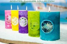 """3""""x6"""" scented mottled pillar candle"""
