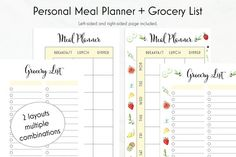 Personal Meal Planner Printable  Grocery List by AlibiDesignStudio