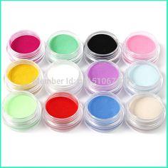 Hot AliExpress 12 couleurs poudre acrylique manucure conseils Nail Art 3D décoration Builder Polymer livraison gratuite