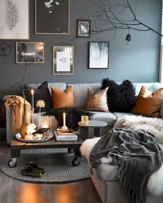 Living Room Color Schemes to Make Your Room Cozy . 35 Elegant Living Room Color Schemes to Make Your Room Cozy . 25 Gorgeous Living Room Color Schemes to Make Your Room Cozy Fall Living Room, Living Room Orange, Living Room Decor Cozy, Living Room Grey, Decor Room, Cozy Living Room Warm, Cottage Living, Room Decorations, Room Art