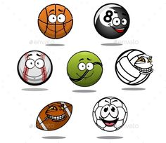 Cartoon Sport Ball Characters by seamartini Cartoon funny basketball, billiard, baseball, tennis volleyball ruby and football balls FLAT  SPORTS MASCOTS  MEDICINE  F