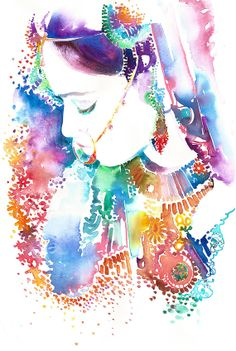 Watercolour Fashion Illustration Print by Cate Parr - New Watercolor Indian Bride 8, Indian Fashion Print