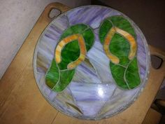 My flip flop Stained Glass stepping stone.