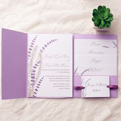 Purple Lavender Pocket Ribbon Wedding Invitations Iwpi026 Invitation Kits Elegant