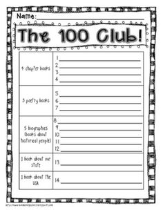 100 Club Reading Incentive & Motivator- Great for Grades 1-5!
