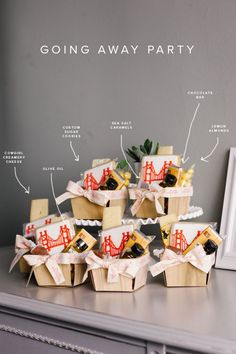 going away party favor baskets, also great as neighbor gift kits