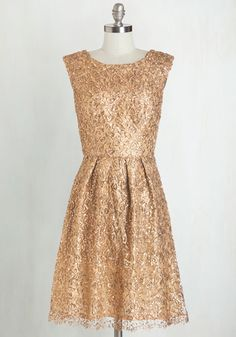 Fun One Like You Dress in Gold - Gold, Prom, Holiday Party, Variation, Woven, Mixed Media, Lace, Solid, Sequins, Special Occasion, Homecoming, Wedding, Bridesmaid, Party, A-line, Cap Sleeves, Mid-length, Top Rated, Sparkly2015