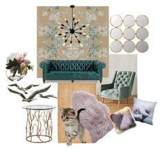 """""""kitty"""" by roxanna-kingston ❤ liked on Polyvore featuring interior, interiors, interior design, home, home decor, interior decorating, Anthropologie, Allstate Floral, GP & J Baker and Safavieh"""