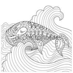 Descargar - Hand drawn whale in the waves for antistress Coloring Page with — Ilustración de stock #82263642