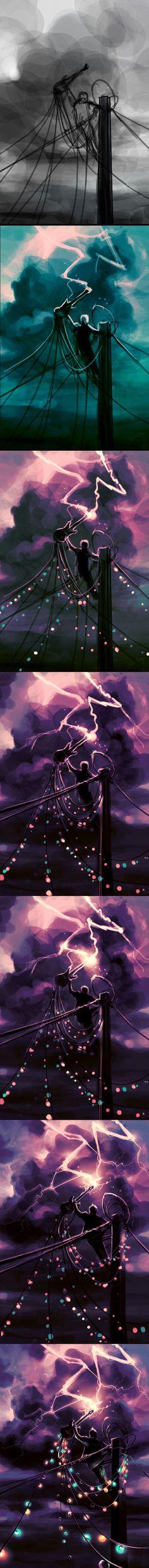 WIP Defy the sky by AquaSixio.deviantart.com on @deviantART Ciel - Poteau électrique - Éclaire - Couleur - Paint