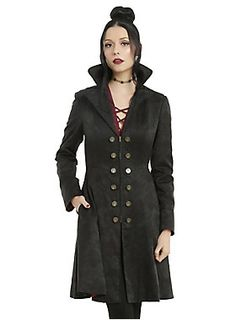 <div>We can't let the guys have all the fun as Hook! Crossplay as Storybrooke's most debonair villain-turned-hero with this jacket from the limited edition <i>Once Upon A Time</i> fashion collection. Black cotton jacquard fit and flare princess coat with an allover ship and hook damask print. The front zipper closure features burnished gold Hook branded buttons on either side of the jacket. Inside, you'll find a satiny burgundy lining with an elaborate black print of Hook's ship flanked by…