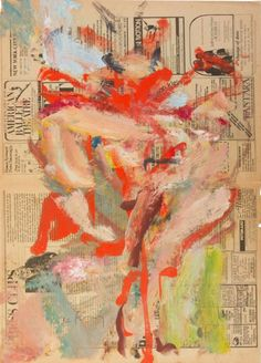 By Willem de Kooning (1904-1997), ca 1976, Untitled (Village Voice), oil on newsprint.
