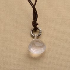 pink necklace rose quartz necklace brown leather necklace by izuly, $44.00
