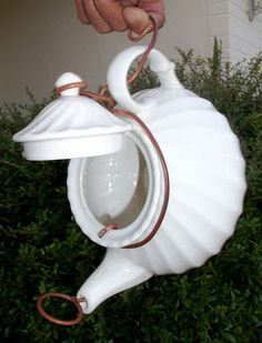 *teapot birdhouse    I'd so put this at the top or end of a rain chain.