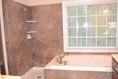 New Master Bathroom. Love this! More designs and ideas here. Remodeling in North Carolina.