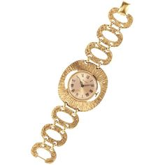 Susan Caplan Vintage 1970s Vendome Gold Plated Cocktail Watch, Gold ($300) ❤ liked on Polyvore featuring jewelry, watches, gold bracelet bangle, vintage gold bangle, gold plated watches, leather-strap watches and bangle bracelet