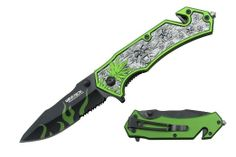 "Wartech 8"" Assisted Open Folding Tactical Pocket Knife Marijuana Leaf and Skull Design Neon Green Handle - Amazon.com $2.55"