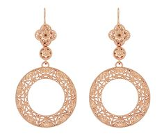 Art Deco Circle of Love Sterling Silver Drop Dangle Filigree Earrings with Rose Gold Vermeil $120.00 http://www.antiquejewelrymall.com/e170r.html