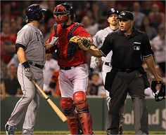 Rays designated hitter Luke Scott and Red Sox catcher Jarrod Saltalamacchia confronted each other after Scott was hit by a pitch from Red Sox relief pitcher Franklin Morales, not pictured, in the ninth inning.